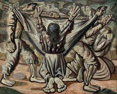 Candido Portinari's 1944 painting Enterro na Rede - Burial in the hammock Arte Popular, Weaving Techniques, Fall Hair, Art Google, Van Gogh, Street Art, Statue, Texture, Diego Rivera