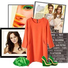"""Loose Orange Zip Dress"" by yamyiy on Polyvore"