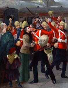 British troops leaving for South Africa, Boer War Military Art, Military History, History Photos, Art History, Pictures Of Soldiers, British Army Uniform, British Overseas Territories, Victorian Paintings, Colonial