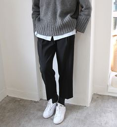 Pants and sweater | grey stan smith oufit
