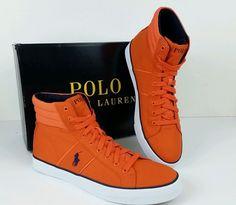 Polo Ralph Lauren Size 10D Bawtry Orange Canvas High Top New Mens Shoes NIB #PoloRalphLauren #FashionSneakersHighTop