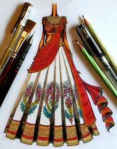 Amazing sketch and design.with great detailing all over the lehenga.dm or watsapp. Can also b customise according to your choice. Fashion Model Sketch, Fashion Design Sketchbook, Fashion Design Portfolio, Fashion Design Drawings, Fashion Sketches, Fashion Figure Drawing, Fashion Drawing Dresses, Fashion Illustration Dresses, Fashion Illustration Tutorial