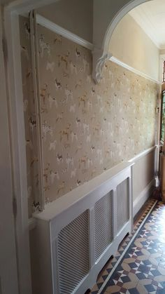 Hallway with new dado rail Hunterhill by Laura Ashley with Dulux Egyptian Cotton .radiator cover.
