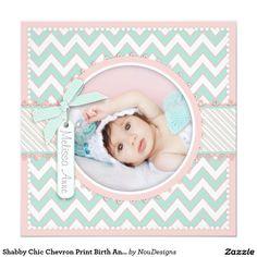 Shabby Chic Chevron Print Birth Announcement