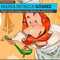 Ilustración. Cocinero de MARÍA MÓNICA GÓMEZ  Ilustración compartida desde Bogotá (COLOMBIA).    Leer más: http://www.colectivobicicleta.com/2012/12/ilustracion-de-maria-monica-gomez.html#ixzz2EIxx2QDd