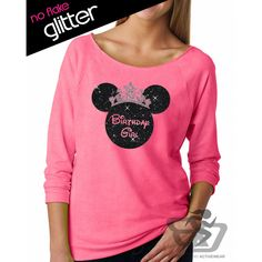 Glitter Disney Birthday Girl Minnie Crown Lightweight 3/4 Sleeve... ($24) ❤ liked on Polyvore featuring tops, hoodies, sweatshirts, grey, tanks, women's clothing, mickey mouse shirt, 3/4 length sleeve shirts, off-the-shoulder sweatshirt and grey sweatshirt