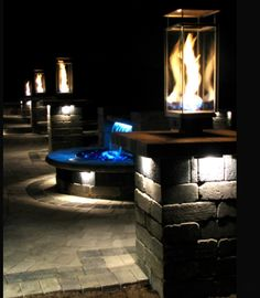 Here Is A Great Back Yard Patio. Using Integral Lights And Pondbuilder  Formalfalls LED Retaining Wall Water Fall Kit.