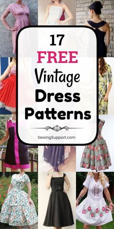 Vintage Dress Patterns: 17 free vintage and retro dress sewing patterns, tutorials, and diy projects with styles inspired by the … Motif Vintage, Vintage Dress Patterns, Dress Sewing Patterns, Vintage Sewing Patterns, Clothing Patterns, Skirt Patterns, Patterns Of Dresses, Coat Patterns, Blouse Patterns