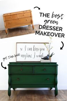 Green Dresser Makeover Green Dresser Makeover A Ray of Sunlight Painted Furniture Makeovers and Home Decor arayofsunlight Furniture Makeover This deep green nbsp hellip Green Painted Furniture, Painted Bedroom Furniture, Chalk Paint Furniture, Refurbished Furniture, Furniture Projects, Furniture Makeover, Cool Furniture, Furniture Stores, Furniture Outlet