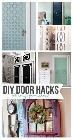 DIY Door Hacks   landeelu.com Dress up a plain door to make it something special! Lots of fun ideas here.