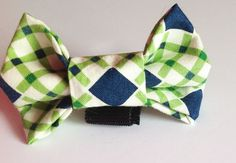 Blue & Green Argyle Collar Bow Tie for Dogs and Cats