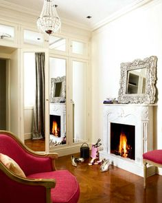 Given its smaller scale, we moved the original marble fireplace to the master bedroom creating a dressing & reading area.designed by us @ nikohl cadeau interiors