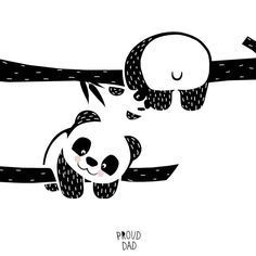 Animals Drawing Hang in there! cute panda bear children illustration / black and white animals drawing for kids / monochrome art for nursery room by Proud Dad -