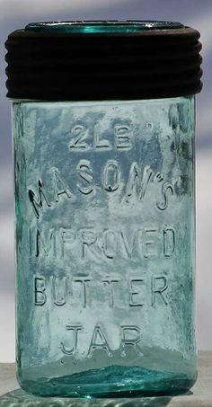 Antique Bottles, Vintage Bottles, Bottles And Jars, Antique Glass, Glass Bottles, Vintage Mason Jars, Blue Mason Jars, Antique Dishes, Vintage Dishes