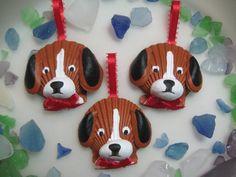 Mini Beagle Ornaments set of 3 by Lorishellart on Etsy, $33.00