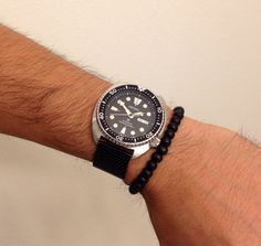 Seiko Turtle SRP777 on Black Mesh Bracelet