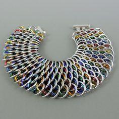 Dragonscale Rainbow Chainmail Bracelet by HCJewelrybyRose on Etsy