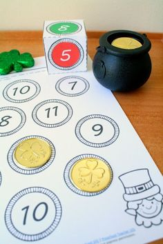 """Roll and Color St. Patrick's Day Math for Preschool, Kindergarten, and First Grade. Includes free """"one more"""" number sense activity."""