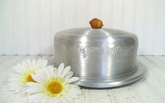 Mid Century Round Cake Carrier with Wooden Acorn Handle - Vintage WestBend Spun Aluminum 2 Piece Set - Chic BoHo Bistro Metal Bakery Keeper