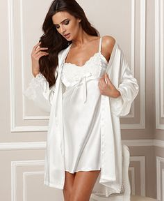 Jones New York Chemise and Wrap, Luxurious Lace Bridal - Womens Bridal Sleepwear - Macy's