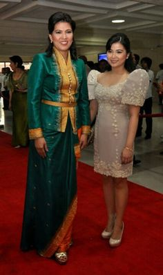 Modern Filipiniana Dress, Choir Uniforms, Filipino Fashion, Filipina, Traditional Dresses, Barot Saya, Formal Wear, Mother Of The Bride, Dress Skirt