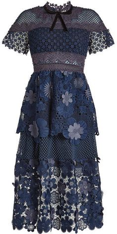 Self-Portrait Dress with Floral Lace and Mesh