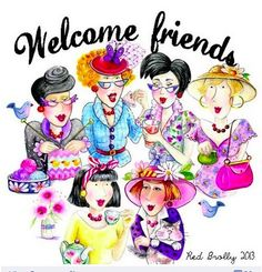 Welcome friends. By Red Brolly design Red Brolly, Laminated Cotton Fabric, Hello Welcome, Brollies, Art Impressions, We Are The World, Red Hats, Birthday Greetings, Friends Forever
