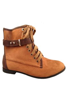 BUCKED TRIM COLORBLOCK BOOTS- Cognac