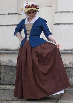 Custom made 18th century brown skirt in linen  1700s