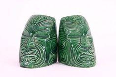 Crown Lynn Wharetana Maori Art Pottery Pair of 'Moko' Bookends