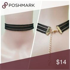 "3 Layer Black Choker Length: 12"" + 2"" Extension Jewelry Necklaces"
