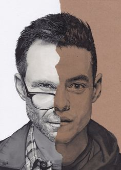 Mr. Robot Portrait Drawing - Signed Giclée Art Print - Rami Malek & Christian Slater - A5 A4 A3 sizes   from Sarahasart at etsy.com