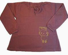 Blouse ample petite fille violette en coton bio équitable #blousefilleviolette