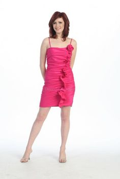 Sexy Fuchsia Sheath/Column Sleeveless Short/Mini Homecoming Dresses With Ruffles HD1670