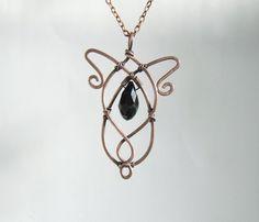 Black crystal necklace fairy princess copper by VeraNasfaJewelry