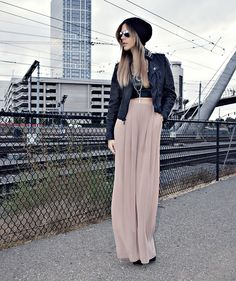 Love the high waisted pant with the leather bomber.