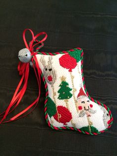 Puffy mini stocking Christmas Items, Christmas Cross, Christmas Ornaments, Needlepoint Christmas Stockings, Mini Stockings, Needlepoint Patterns, Needlework, Stitches, Cross Stitch