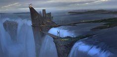 Waterfall - Sketch, Ned Rogers on ArtStation at https://www.artstation.com/artwork/51X4w