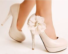 Ivory Wedding Diamond Platform High Heel Lace Flowers High Heels