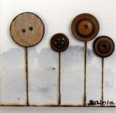 Woodburned Original Art Vintage Button Garden by LaurasArtCottage, $27.00
