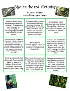 Here's a choice activity board for 3rd grade for use with a unit on rainforests.