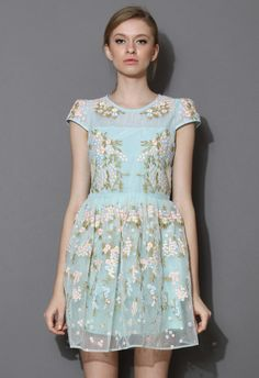 Fairland Blue Floral Embroidered Organza Dress - Dress - Retro, Indie and Unique Fashion