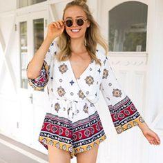 393d7ba115e Summer Beach Floral Print Jumpsuit Women Long Sleeve Sexy V-neck