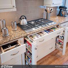 Craftsman Kitchen - Find more amazing designs on Zillow Digs! Kitchen Stove, Kitchen Redo, Kitchen Pantry, New Kitchen, Kitchen Dining, Kitchen Remodel, Kitchen Ideas, Space Kitchen, Kitchen Drawers