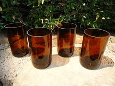 Beer Bottle Glasses made from Recycled Beer Bottles in Amber Set of 4 by ConversationGlass on Etsy https://www.etsy.com/listing/100591096/beer-bottle-glasses-made-from-recycled