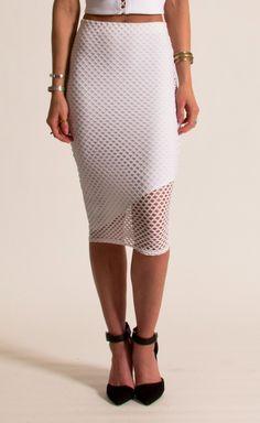 boutique flirt - Donna Mizani Asymmetrical Midi Skirt Diamond Mesh White, $95.00 (http://www.boutiqueflirt.com/donna-mizani-asymmetrical-midi-skirt-diamond-mesh-white/)