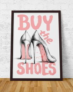 Buy the shoes Fashion Poster Louboutin High Heels Archival Art Print, Home decor, Wall art Illustration Artwork Elegant Pink Fresh Girly by ScentOfArt on Etsy