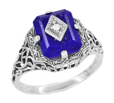 Caroline's Ring - Art Deco Filigree Diamond and Lapis Lazuli Ring in Sterling Silver $125.00 http://www.antiquejewelrymall.com/ssr15la.html