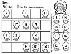 Winter Count to 20 includes Math Center Activities and Worksheets to reinforce counting and number order to 20.