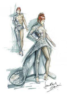 Jean Paul Gaultier - Croquis d'un costume de scène pour le Timeless Tour 2013 de Mylène Farmer